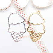 Double Scoop Ice cream Cone Open Bezel Charm - 3 pieces