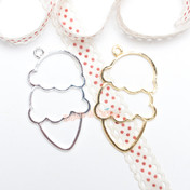 Double Scoop Ice cream Open Bezel Charm - 3 pieces