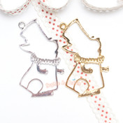 White Rabbit Open Bezel Charm - 2 pieces
