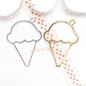 Ice Cream Scoop Open Bezel Charm - 4 pieces