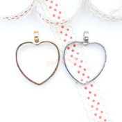 Heart Shape Open Bezel Charm - 4 pieces