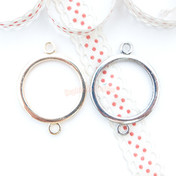 Circle Shape Open Bezel Connector Charm - 3 pieces