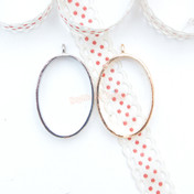Oval Shape Open Bezel Charm - 4 pieces