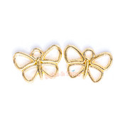 Small Butterfly Open Bezel Gold Charm - 20 pcs