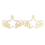 Kawaii Star Wing Open Bezel Gold Charm - 3 pcs