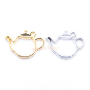 Teapot Open Bezel Metal Charm - 4 pieces