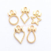 Lolita Bow Shapes Open Bezel Metal Charm - 5 pieces