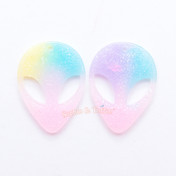 Pastel Glittery Alien Head Resin Cabochon - 4 pieces