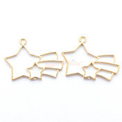 Shooting Star Open Bezel Metal Charm - 3 pieces