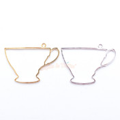 Teacup Open Bezel Metal Charm - 4 pieces