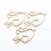 Kawaii Cupid Heart Open Bezel Metal Charm - 3 pieces