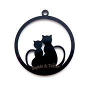 Kitty Cat Black Bezel Acrylic Charm - 2 pieces
