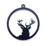 Reindeer Black Bezel Acrylic Charm - 2 pieces
