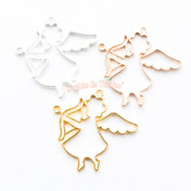 Angel Cupid Bow Open Bezel Metal Charm - 6 pieces