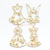 Princess Dresses Open Bezel Metal Charm (Yellow Gold) - 4 pieces