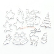 Christmas Theme Silver Open Bezel Charms (10 pieces)