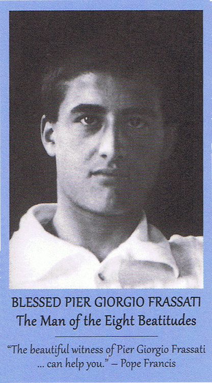 The front of the Bl. Pier Giorgio prayer card.