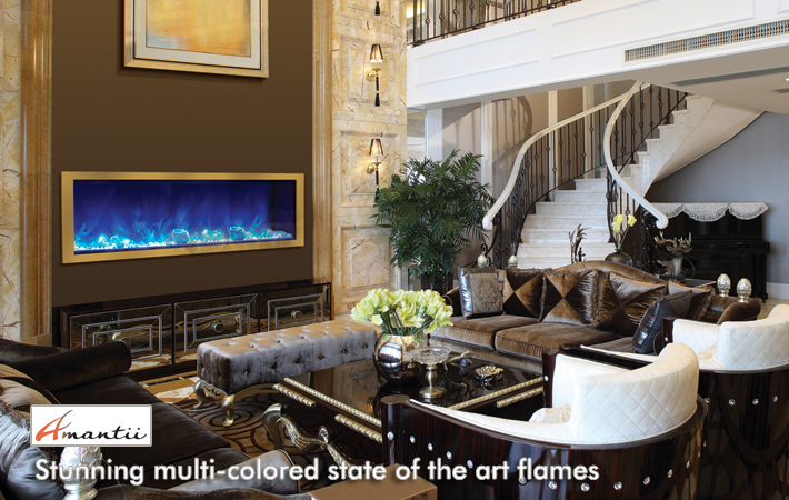 Amantii electric fireplaces and steel overlays