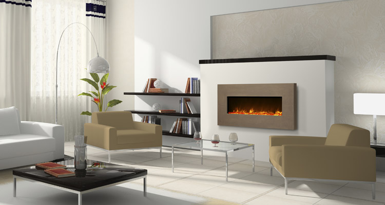 Amantii Electric Fireplace - 51 inches wide with concrete surround.  Enduring and Unique. - Amantii 51