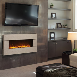 Tuscan Classico Sable Livingroom  Built In Electric Fireplace