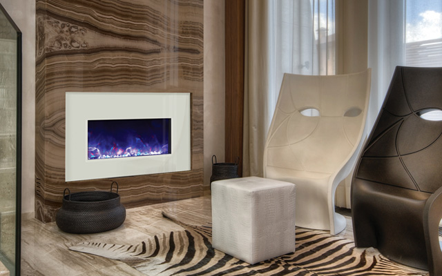 white glass electric fireplace