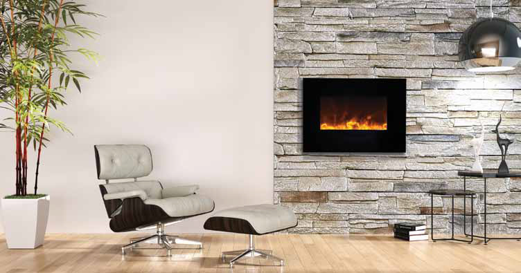 Fine Flush Mount Electric Fireplace 36 Inch Cynergy Pebble Builtin
