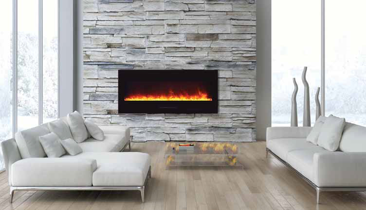 Amantii WM FM 50 BG Wall Mount / Flush Mount Electric Fireplace  Built In Electric Fireplace