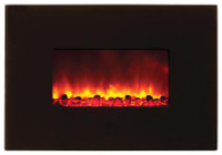 "Amantii WM-38-BLKGLASS Electric Fireplace - 38"" with Black Surround"