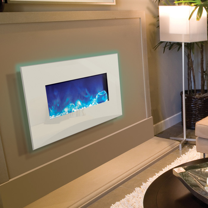 Amantii 26 Inch Wide Wall Mount Or Built In Electric Fireplace With White  Glass Face  Built In Electric Fireplace