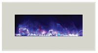 electric fireplace - 34 inches wide, white glass face and purple flame