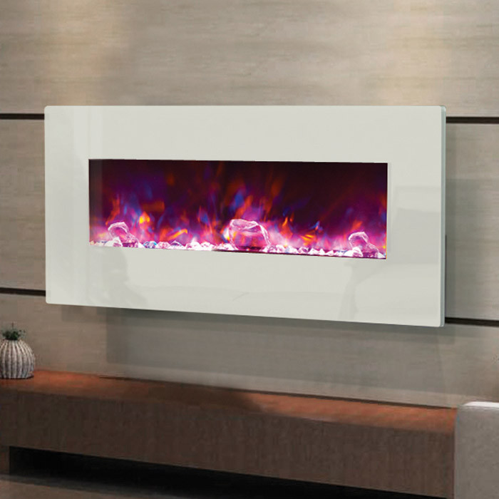 electric fireplace - 34 inches wide, white glass face and rose flame - Electric Fireplace - Fire And Ice Series - Modern 34