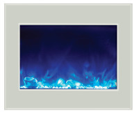Amantii 39-4134 White Glass Zero Clr Elec Fireplace