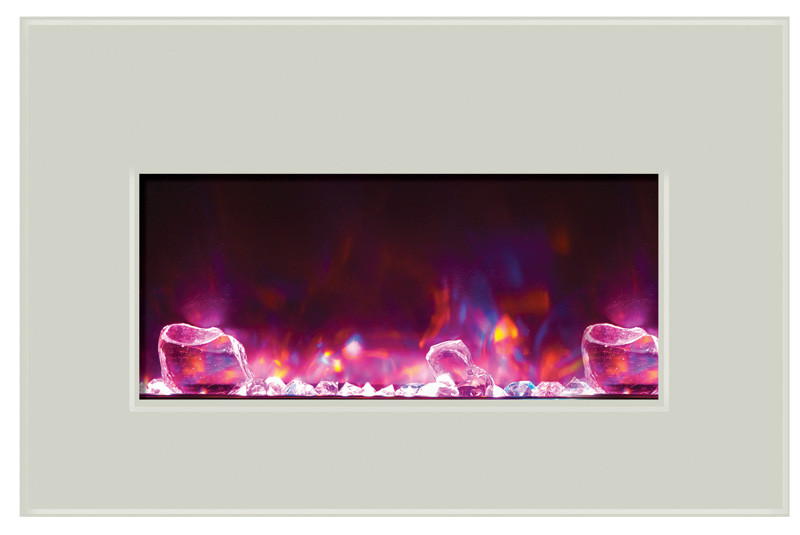 Amantii INSERT-30-4026-WHTGLS with rose flames
