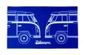 VW Dual Split Campervan Blueprint Tea Towel