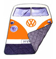 Volkswagen Orange Campervan Quilted Picnic Blanket