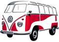 VW T1 Red & White Classic Wall Decal Sticker