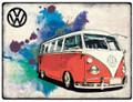 VW Red Campervan Grunge Metal Sign