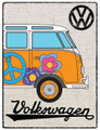 VW Orange Campervan Hessian Metal Sign