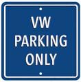 VW Parking Only Dark Blue Square Metal Sign