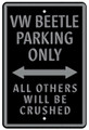VW Beetle Parking Only Metal Sign