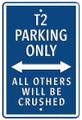 VW T2 Dark Blue Parking Only Metal Sign
