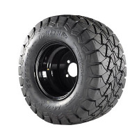 "Madjax 10x8 Black Steel Rims with 22"" Timber Wolf A/T Tires"