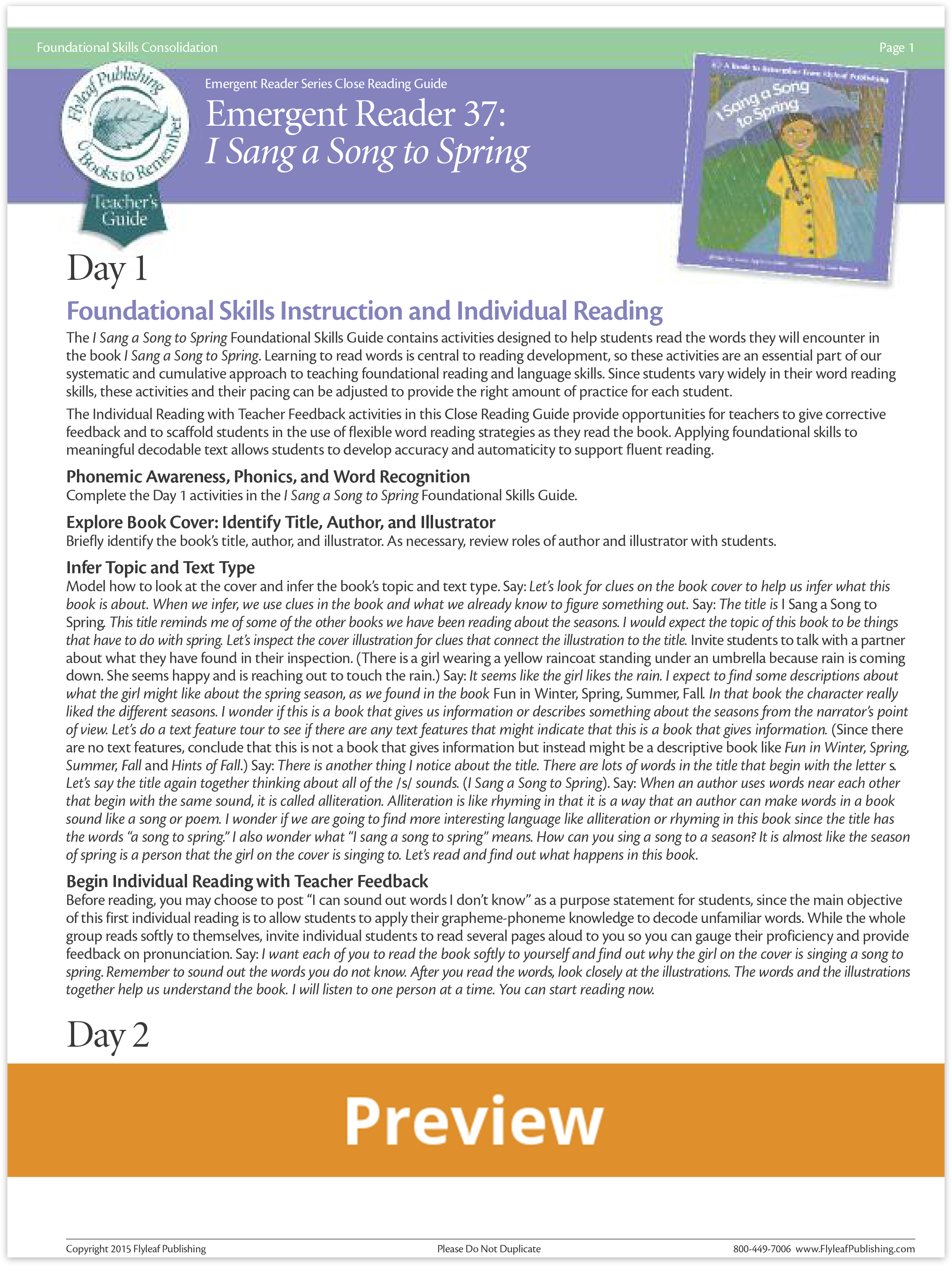 I Sang a Song to Spring Close Reading Guide Preview for decodable books