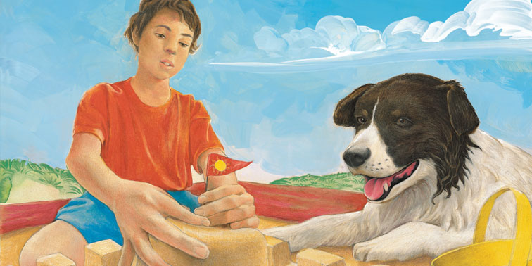 Fred and Max in the Sandbox decodable book illustration