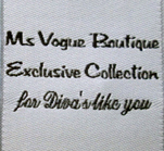 Ms Vogue Boutique Semi Custom Woven Clothing Label