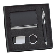 Black Leatherette Business Card Case, Pen, and Key Chain Gift Set