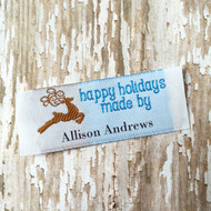Clothing Label - Happy Holidays Reindeer