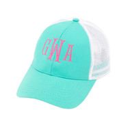 Mint Green Trucker Hat - Monogram Shown: Hot Pink Thread/Cotillion Font