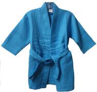 Kids Size Waffle Weave Robe - Tropical Blue