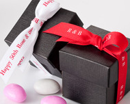 "Red and White 5/8"" Personalized Textured Ribbon"